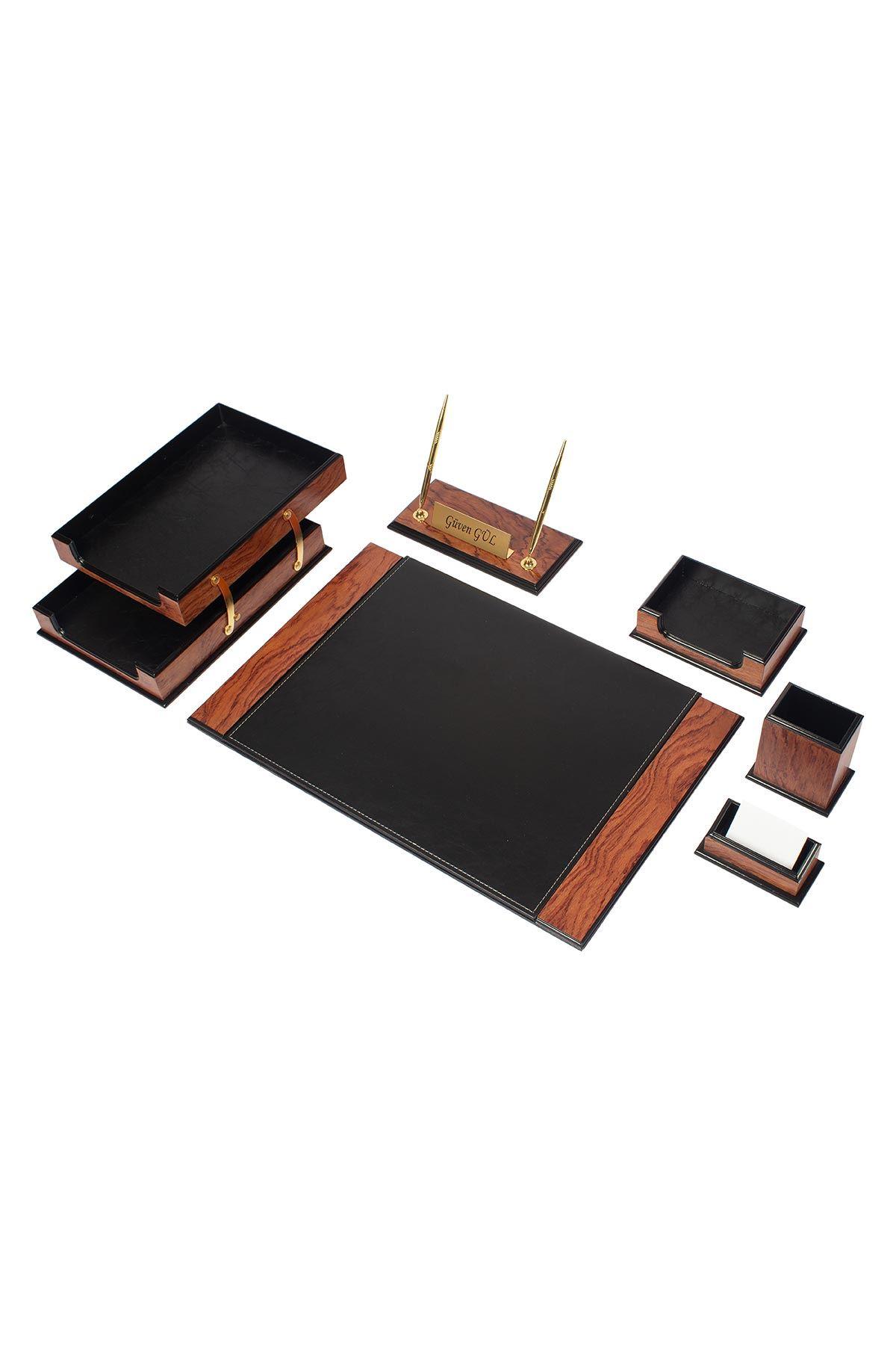 Wooden Prestige Desk Set Rose Black 8 Accessories