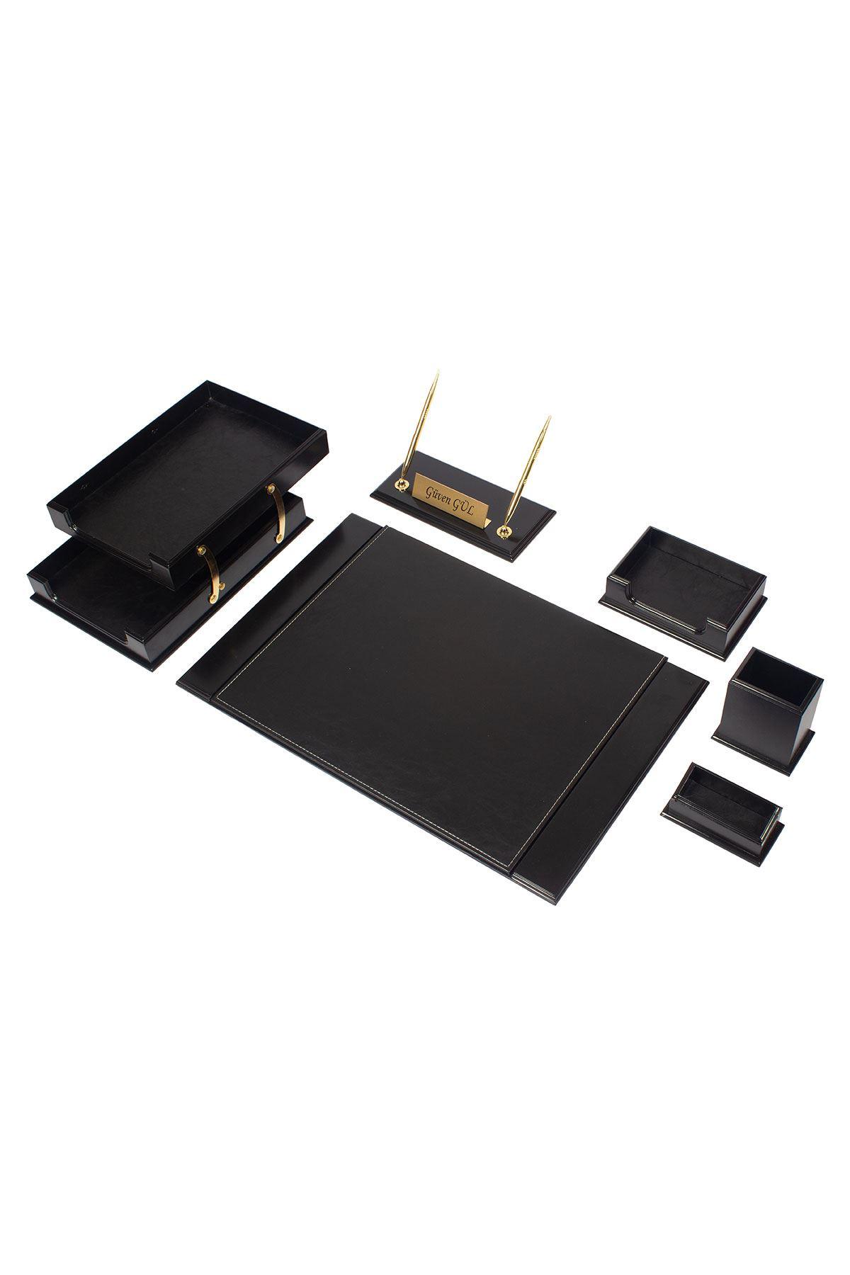 Wooden Prestige Desk Set Black 8 Accessories
