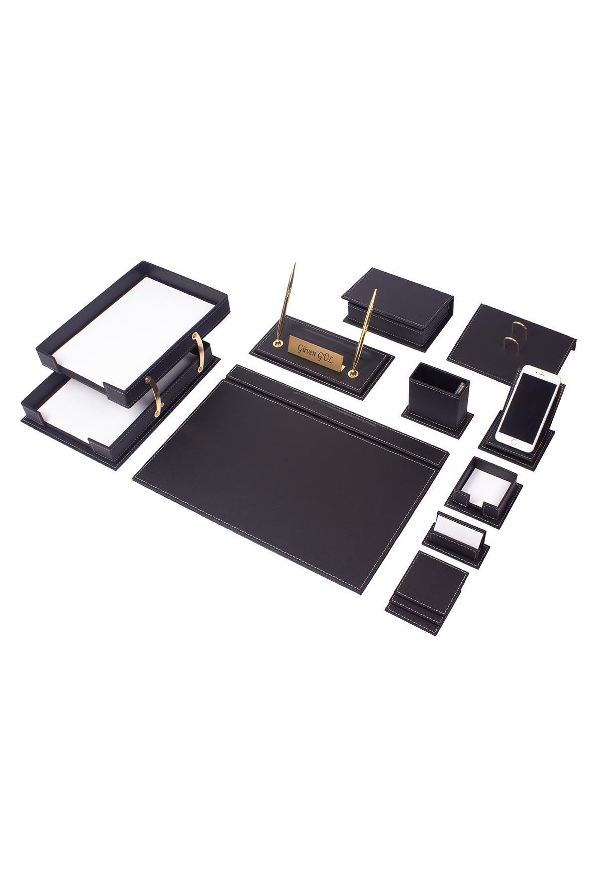 Vega Leather Desk Set Black 14 Accessories