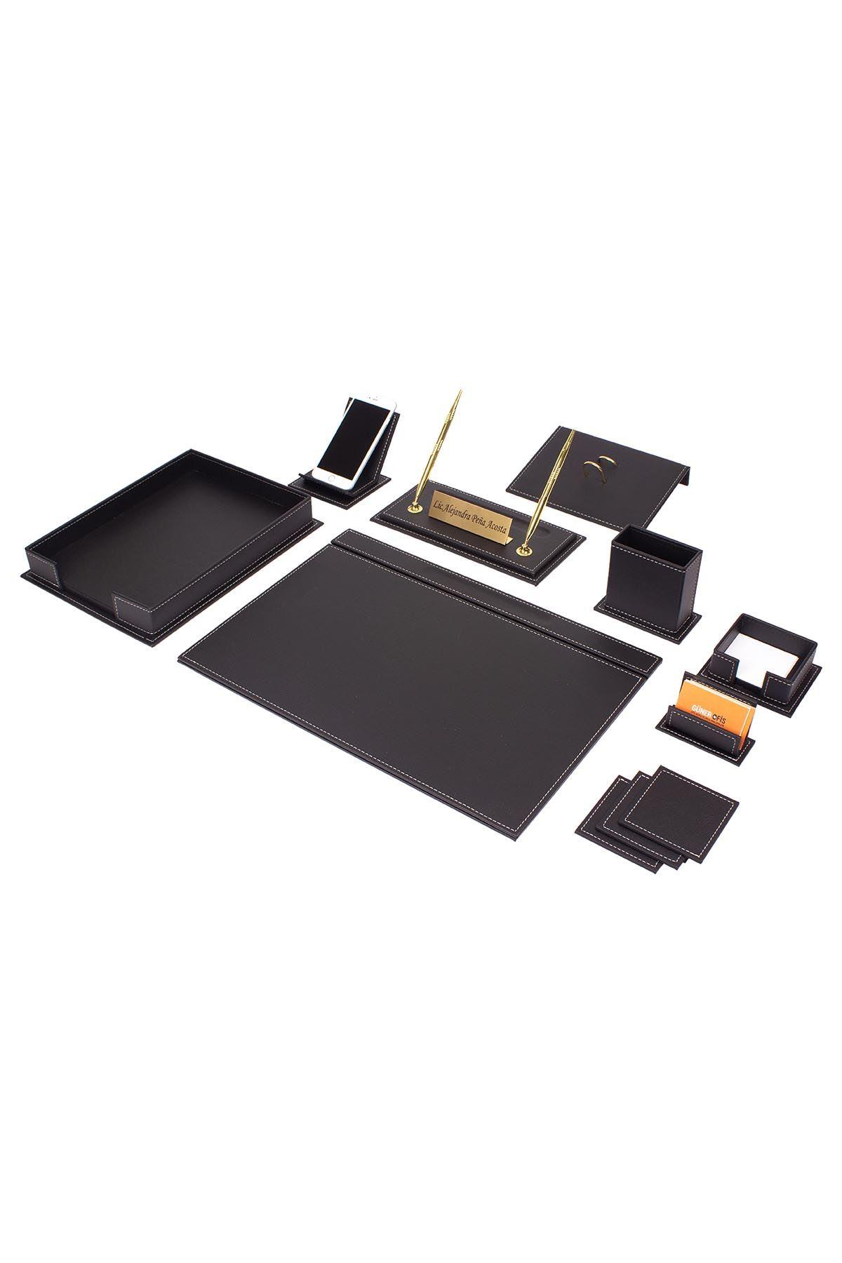 Vega Leather Desk Set Black 13 Accessories