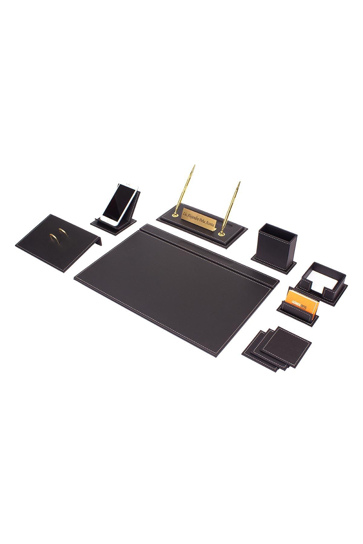 Vega Leather Desk Set Black 12 Accessories