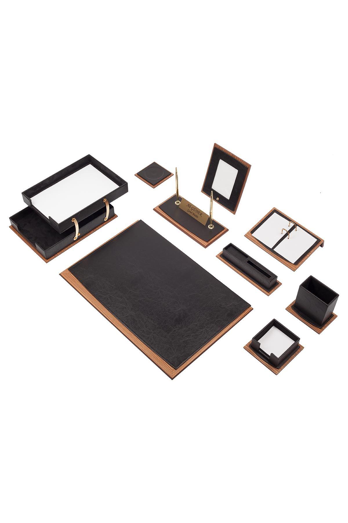 Star Lux Leather Desk Set Black 11 Accessories