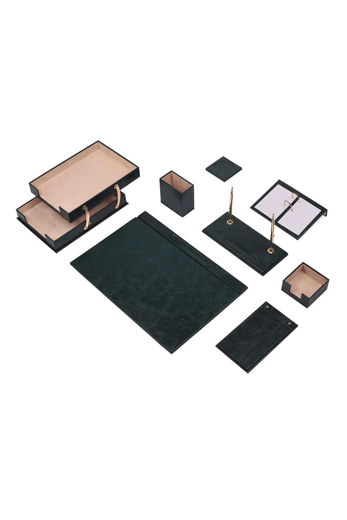 Luxury Leather Desk Set Green 10 Accessories - Double Document Tray