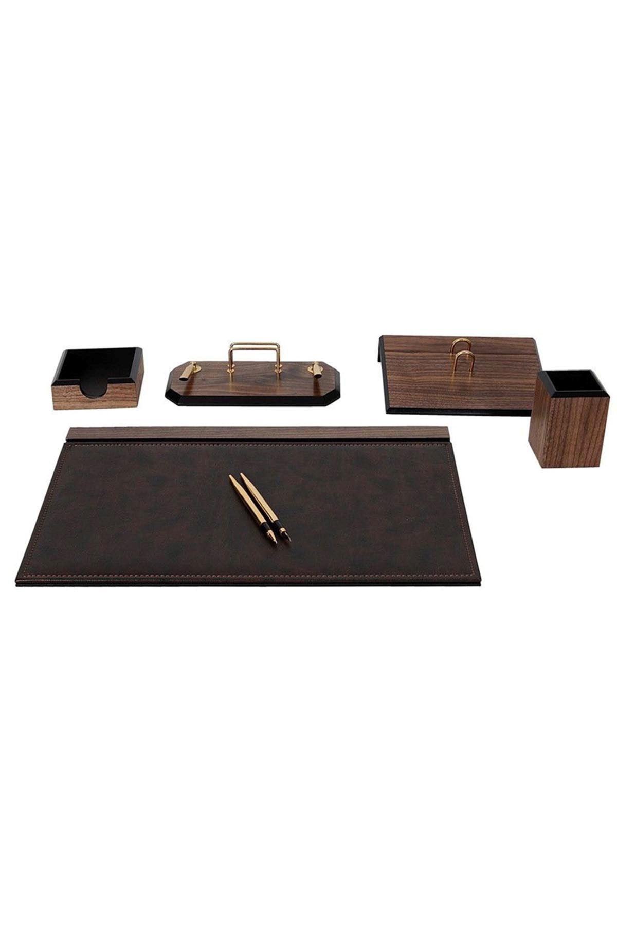 Wooden Flash Desk Set Brown 6 Accessories