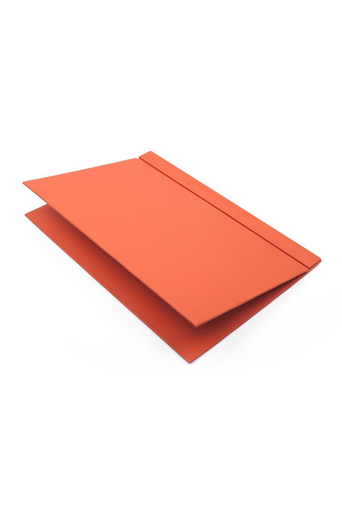 Luxury Leather Desk Set Orange 10 Accessories - Double Document Tray