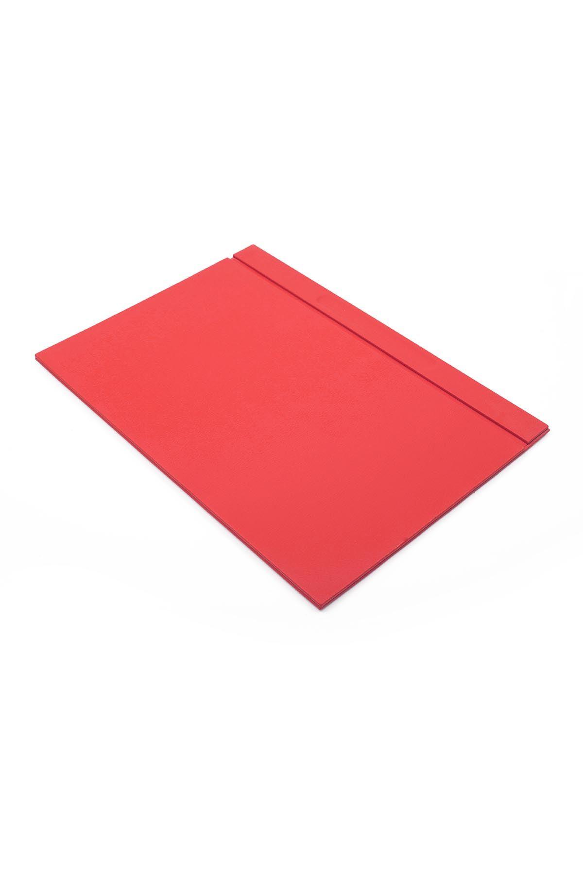Deri Sümen Takımı Kırmızı 10 Parça İklili Evrak Raflı İsimlik Hediyeli