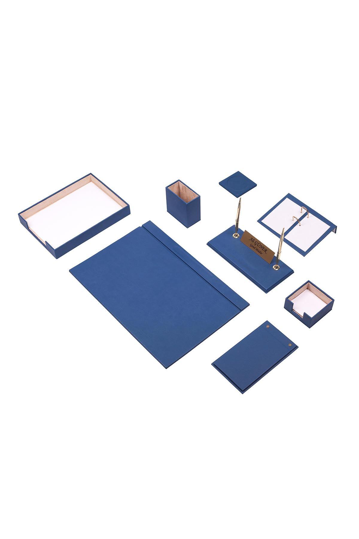Leather Desk Organizer 10 Accessories Blue