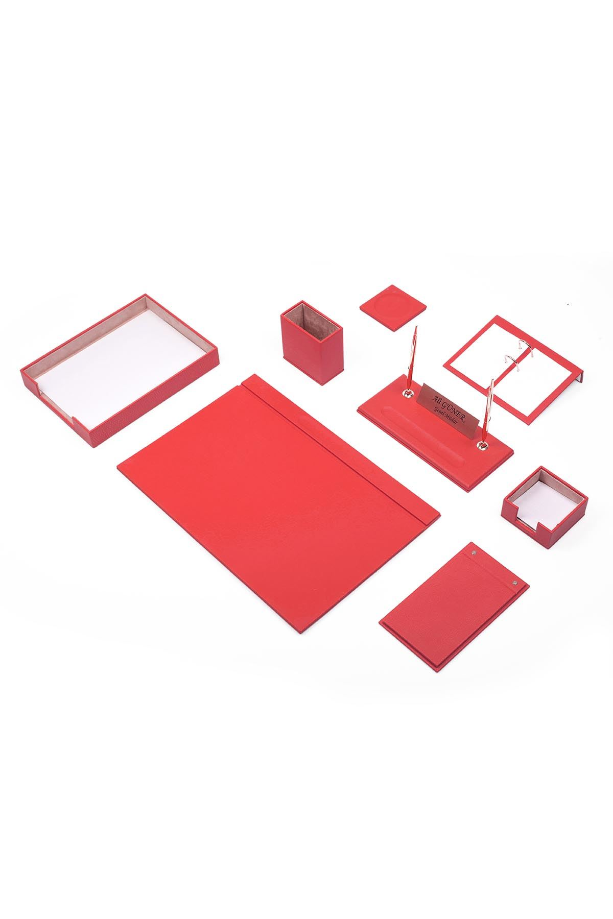 Leather Desk Organizer 10 Accessories Red