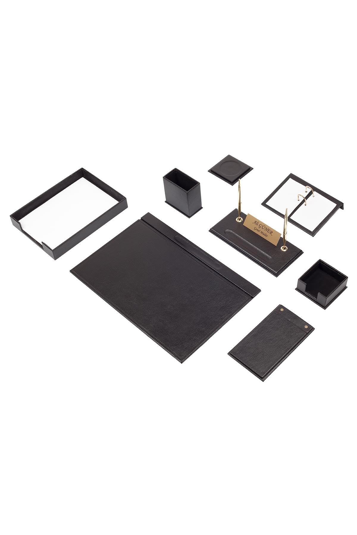 Leather Desk Organizer 10 Accessories Black