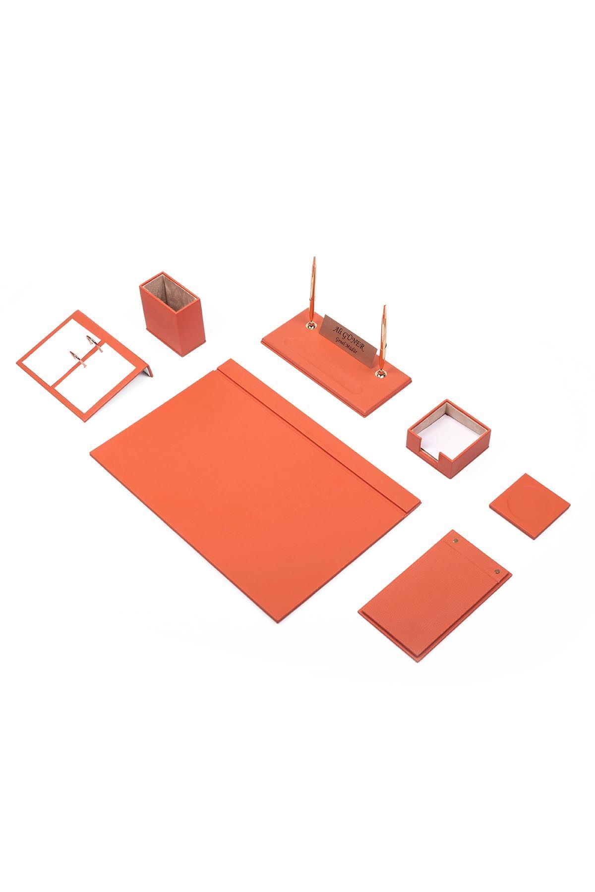Leather Desk Set 9 Accessories Orange