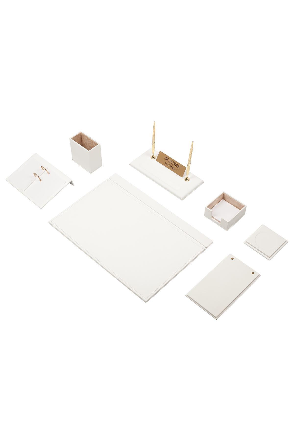 Leather Desk Set 9 Accessories White
