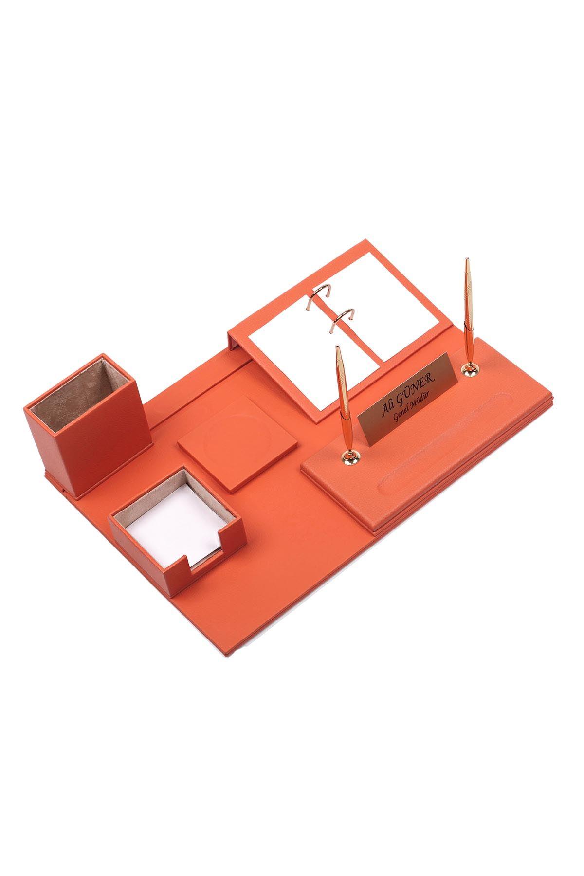 Leather Desk Set 8 Accessories Orange