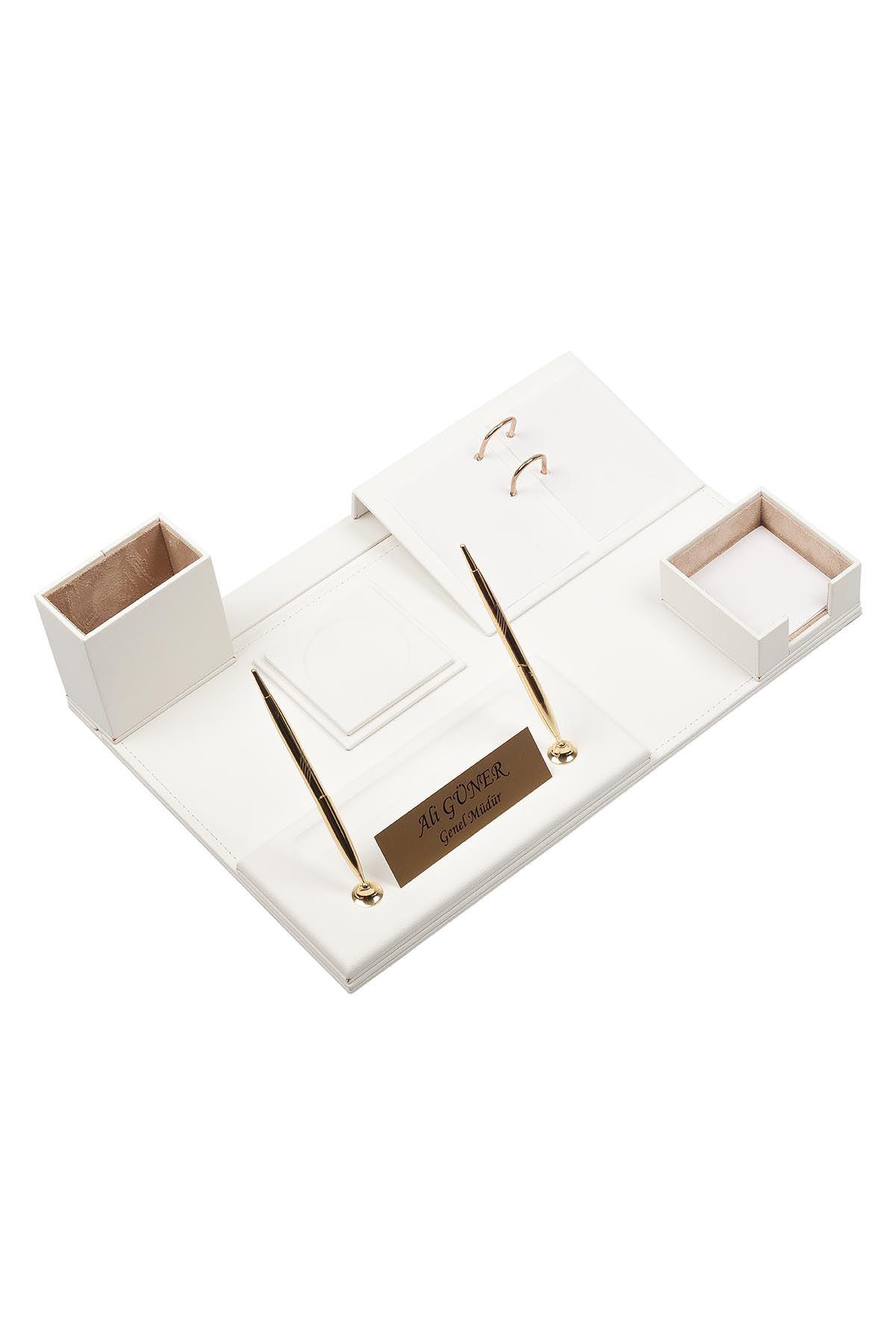Leather Desk Set 8 Accessories White