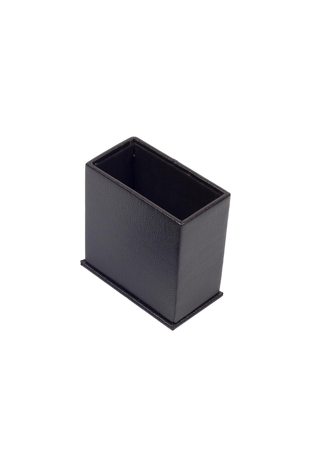 Leather Desk Set 8 Accessories Black
