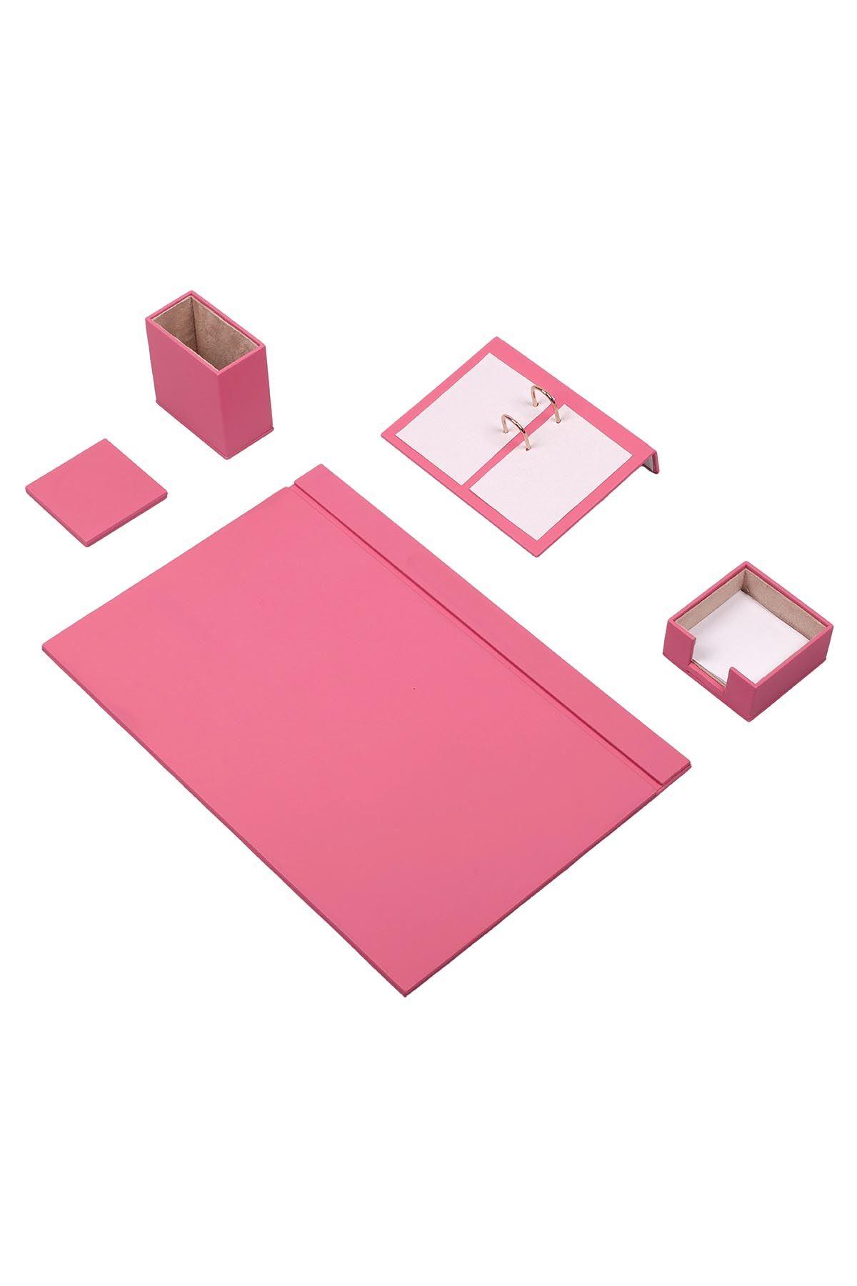 Leather Desk Set 4 Accessories Pink