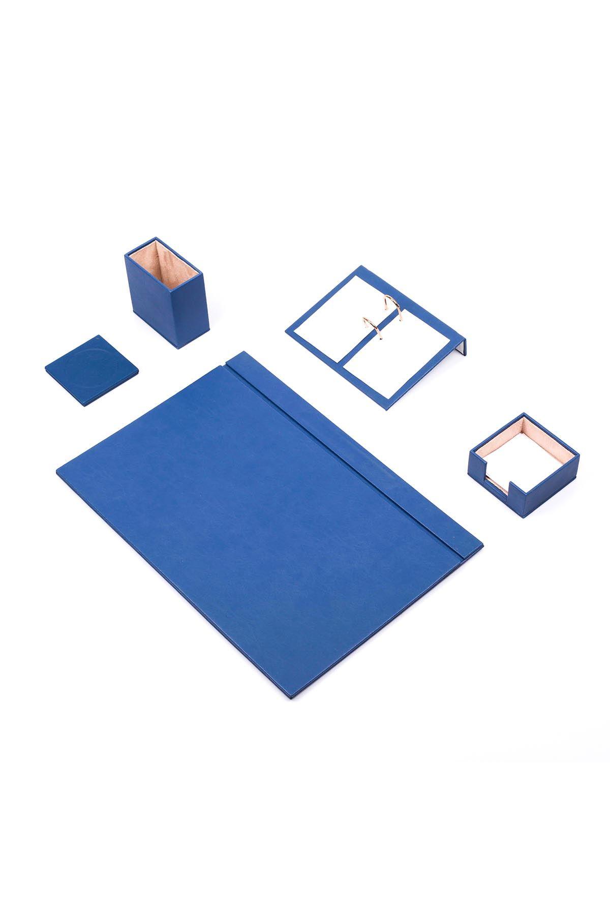 Deri Sümen Takımı Mavi 5 Parça