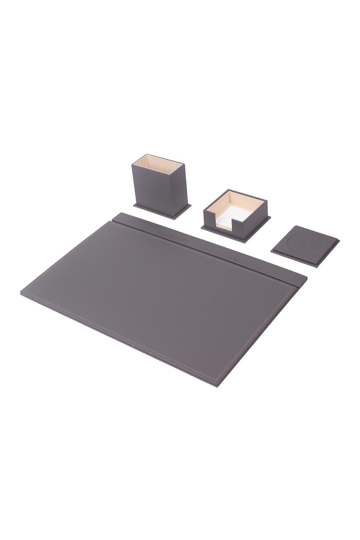 Leather Desk Set 4 Accessories Gray