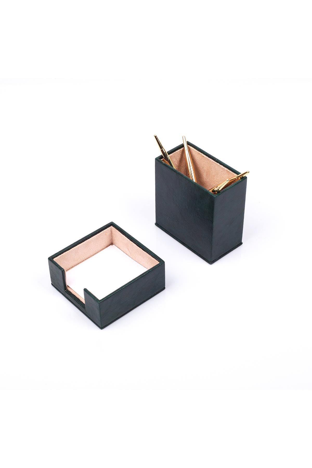 Leather Desk Set 4 Accessories Green