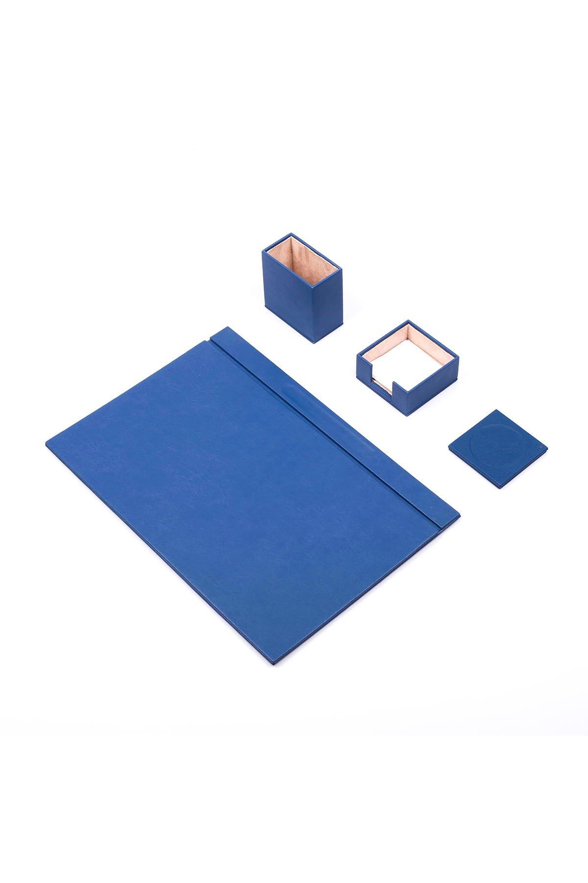 Deri Sümen Takımı Mavi 4 Parça