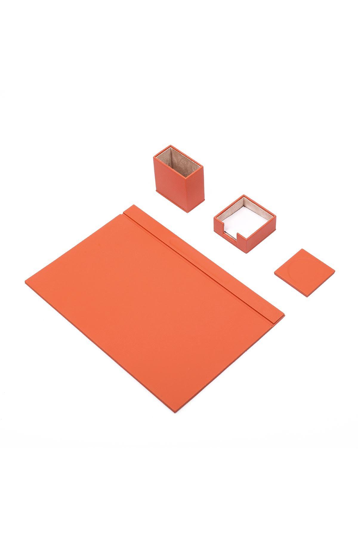 Leather Desk Set 4 Accessories Orange
