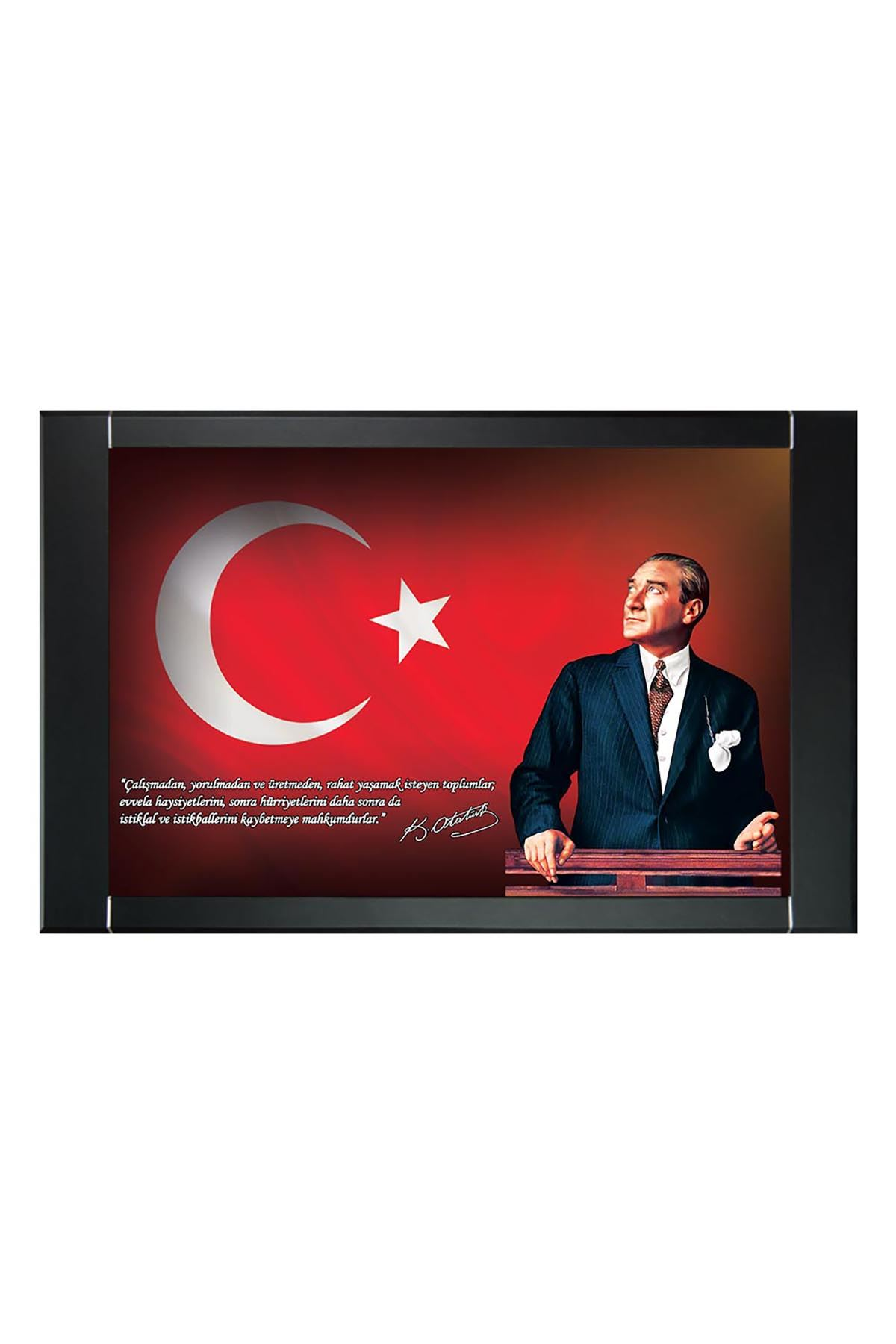Atatürk Printed Manager Board | Printed Manager Board | Leather Framed Board | High Quality Manager Board