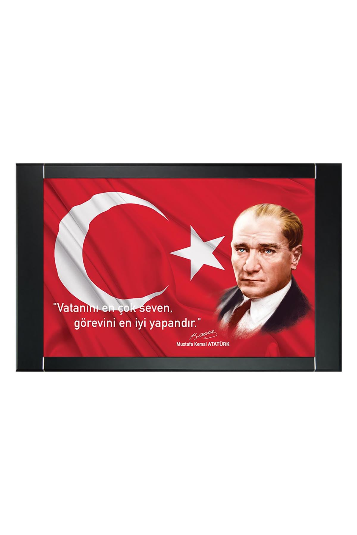First President M. Kemal Atatürk Printed Manager Board | Printed Manager Board | Leather Framed Board | High Quality Manager Board
