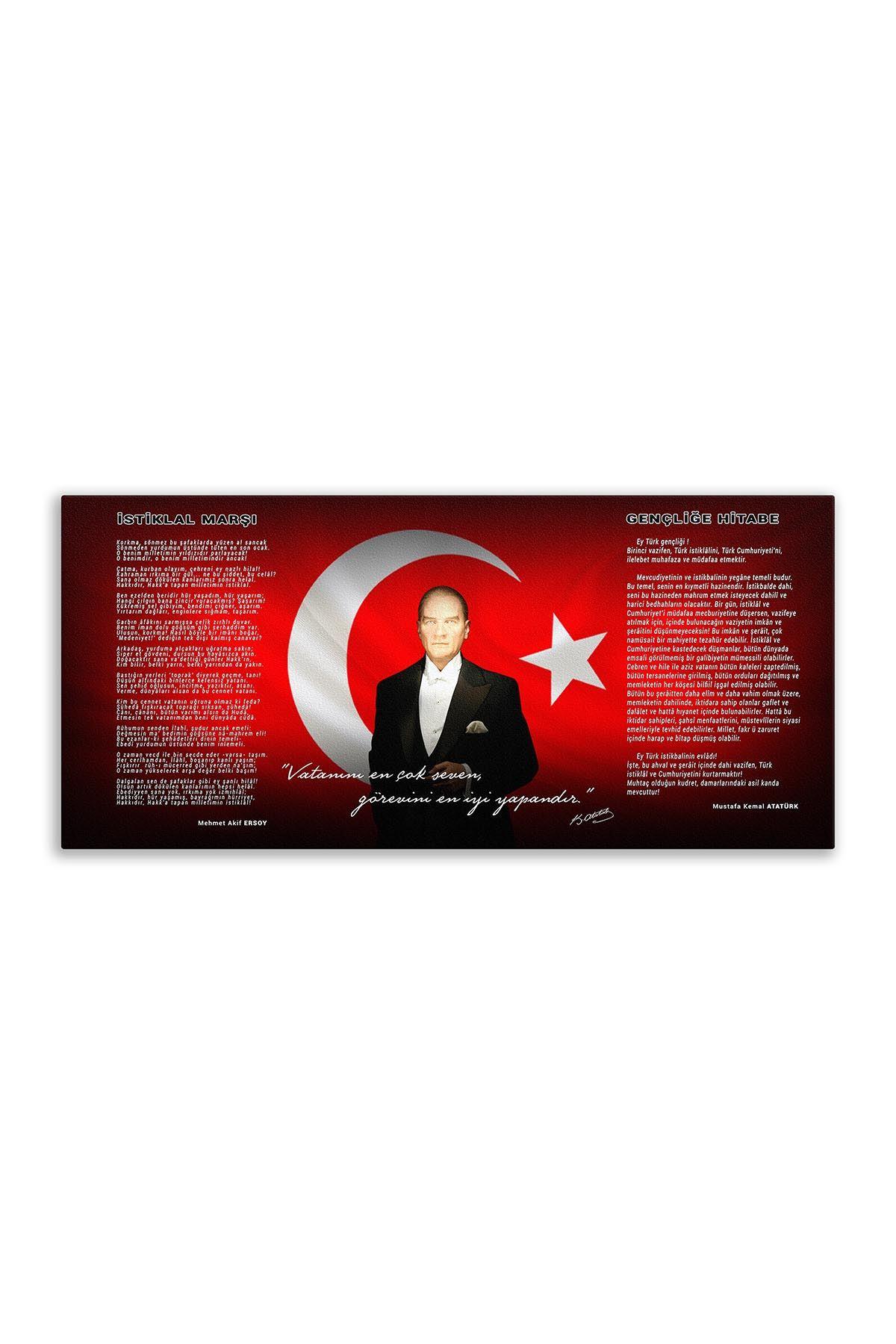 Atatürk Canvas Board With Turkish Flag | Printed Canvas Board | Digital Printing