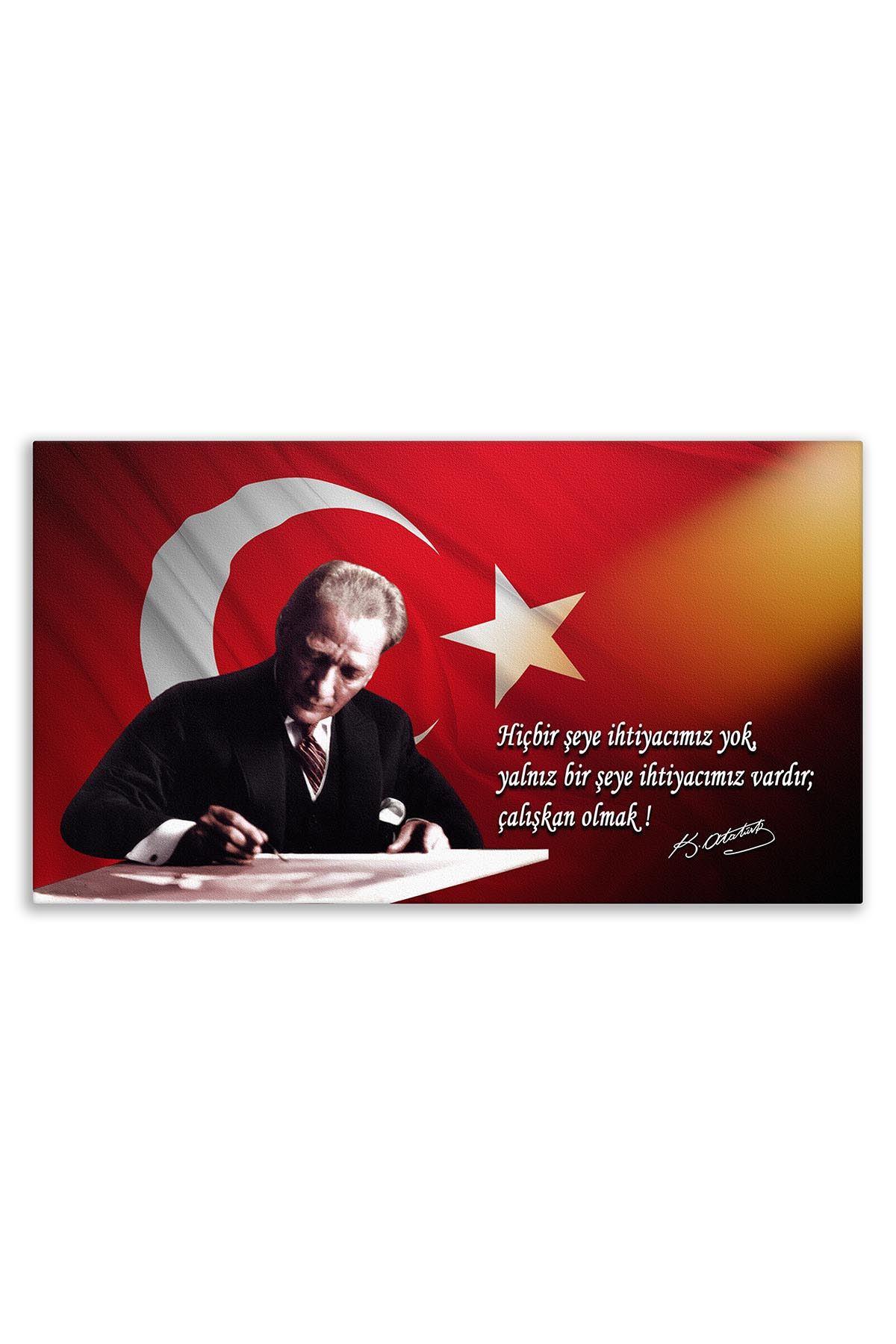 Atatürk Canvas Board With Turkish Flag | Printed Canvas Board