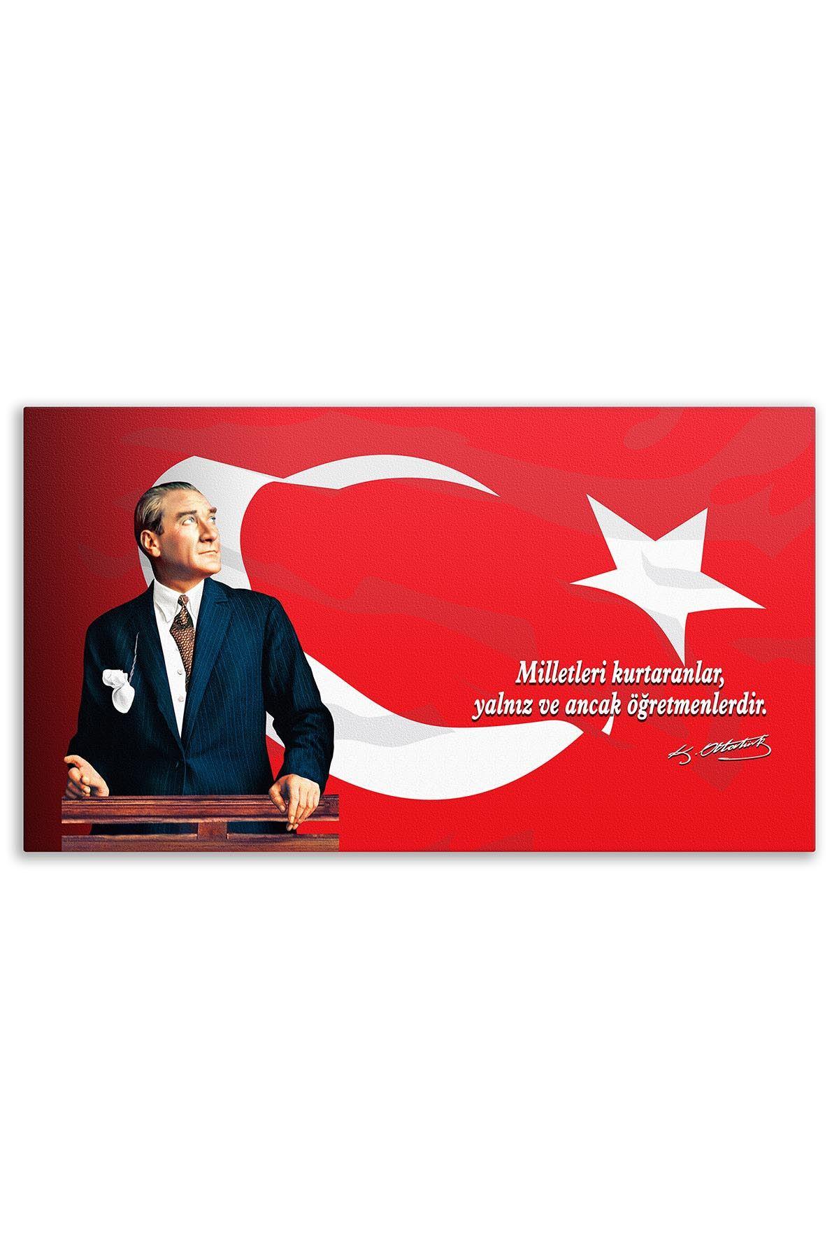 Atatürk Canvas Board With Turkish Flag | Printed Canvas Board | Customized Canvas Board