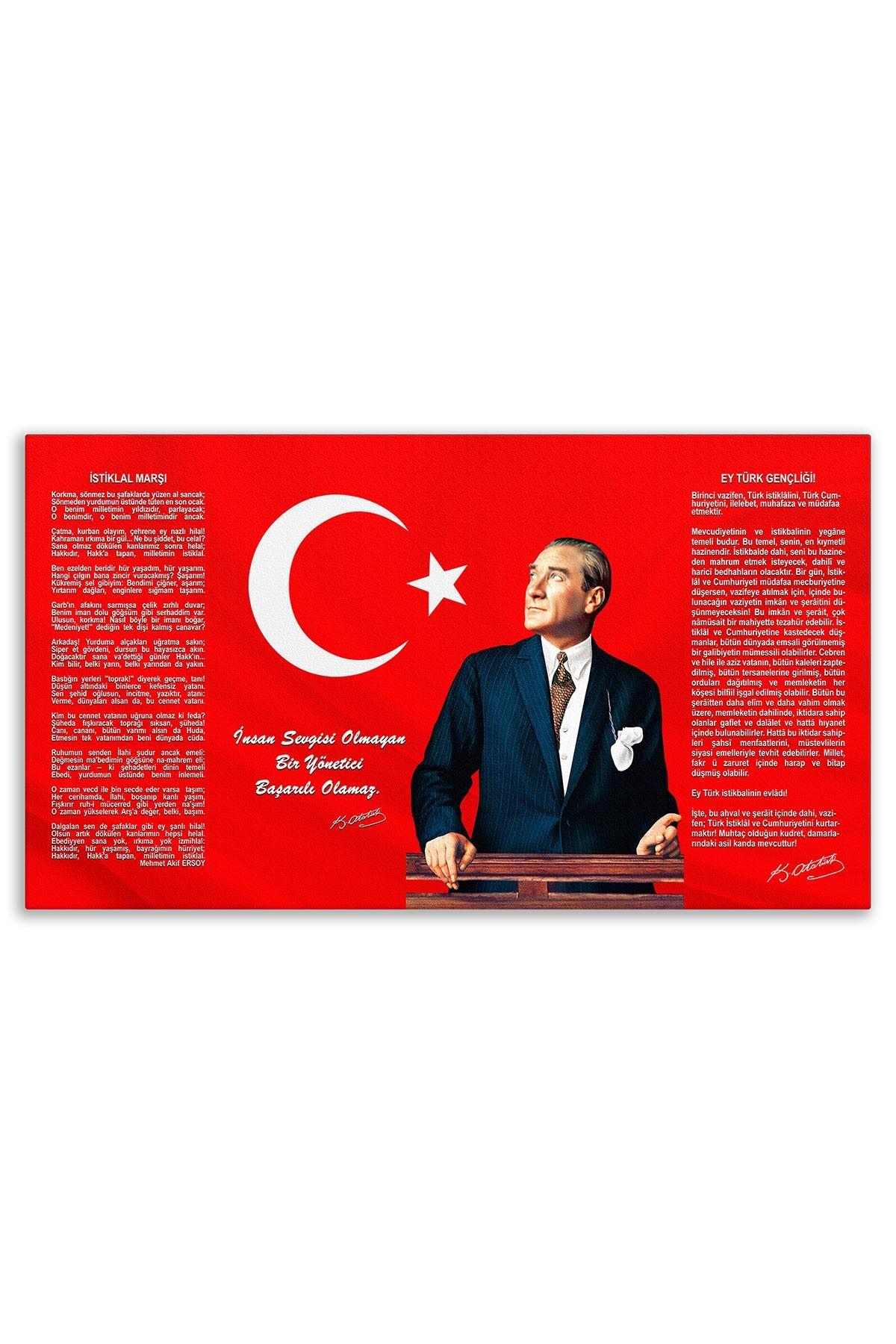 Ataturk Canvas Board With Turkish Flag | Printed Canvas Board | Customized Canvas Board