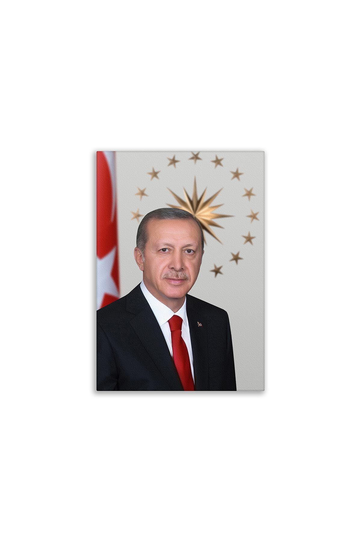 Recep Tayyip Erdoğan Tablosu Deri Üzerine Dijital Baskı