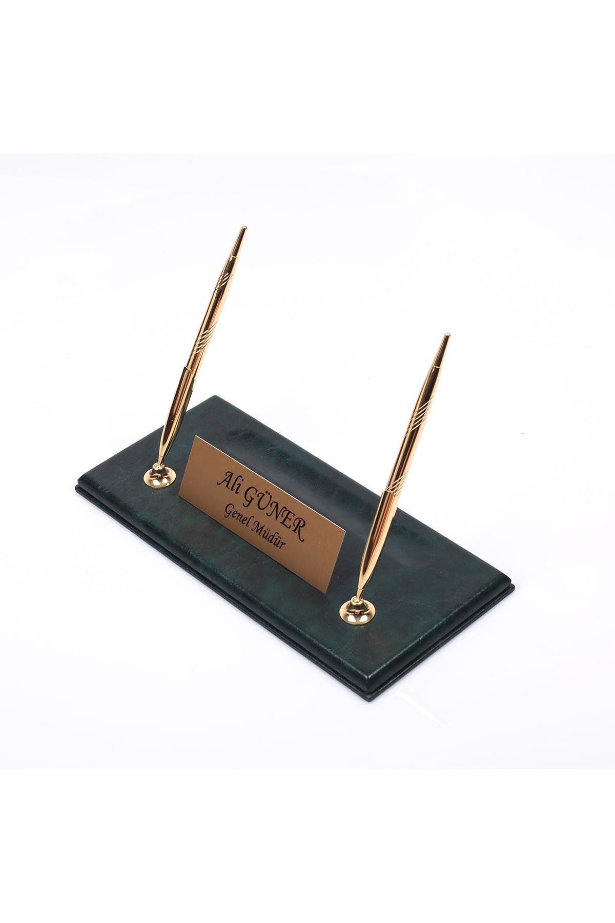 Leather Manager Pen Base Green| Name Plate | Golden Pen Base | Desk Accessories
