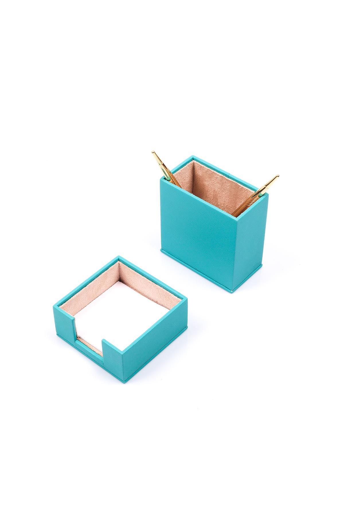 Leather Desk Accessories set of 2 Turquise| Desk Set Accessories | Desktop Accessories | Desk Accessories | Desk Organizers | Pencil Holder | Note Paper Holder