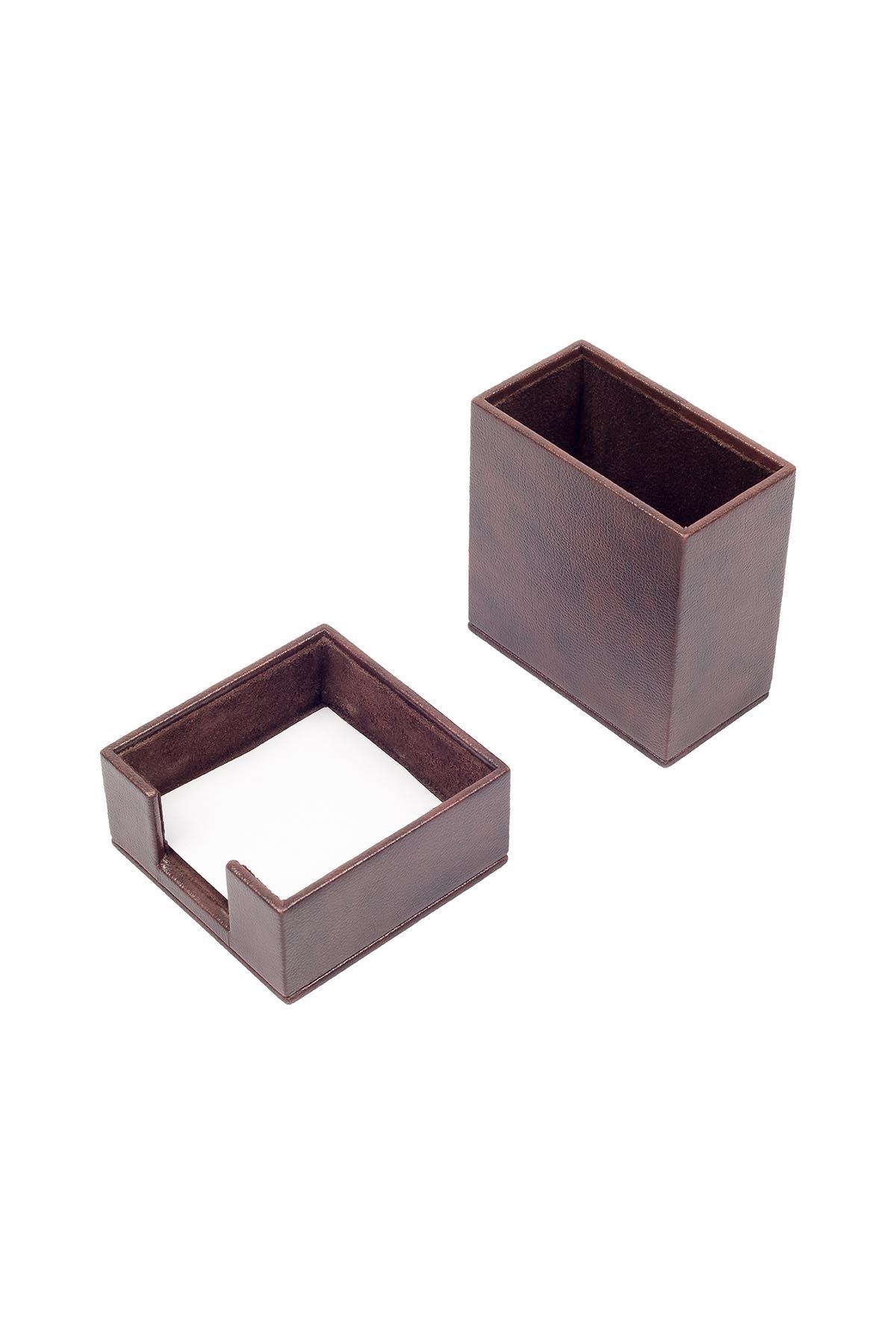 Leather Desk Accessories set of 2 Brown| Desk Set Accessories | Desktop Accessories | Desk Accessories | Desk Organizers | Pencil Holder | Note Paper Holder