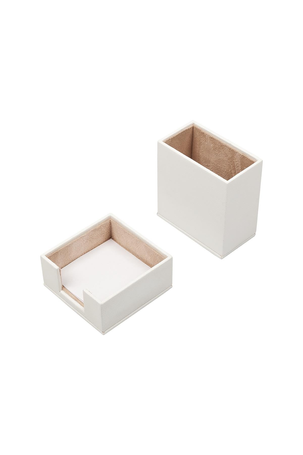 Leather Desk Accessories set of 2 White| Desk Set Accessories | Desktop Accessories | Desk Accessories | Desk Organizers | Pencil Holder | Note Paper Holder