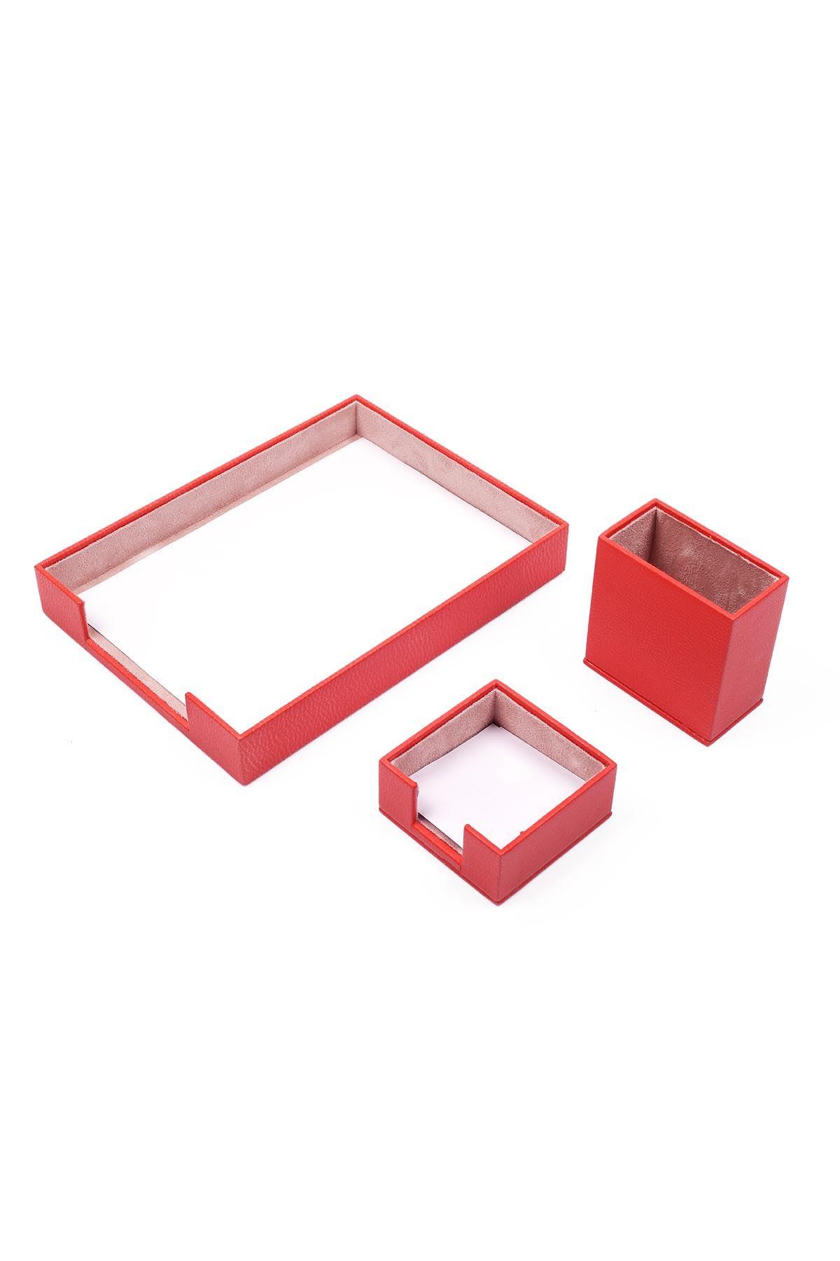 Deri 3 Parça Masa Üstü Seti Kırmızı Tekli Evrak Rafı, Kalemlik ve Notluk