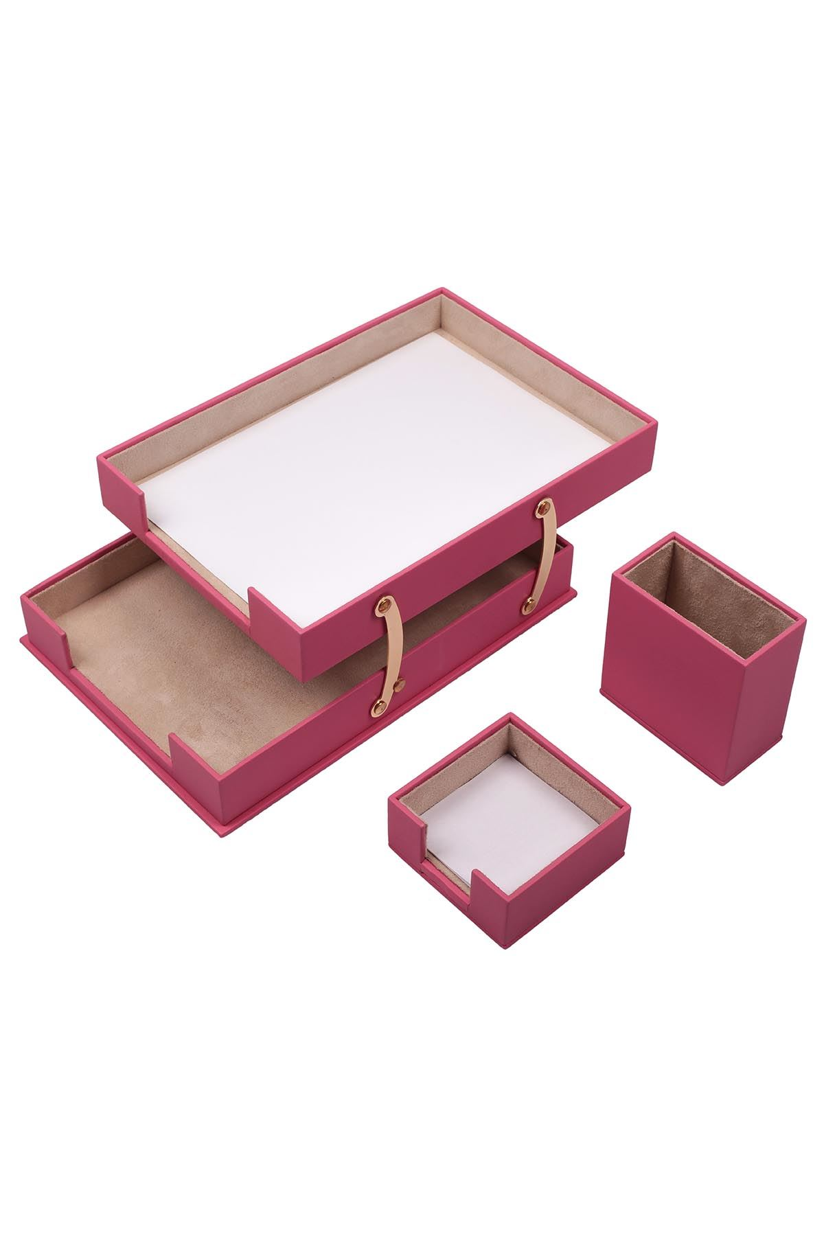 Double Document Tray With 2 Accessories Pink| Desk Set Accessories | Desktop Accessories | Desk Accessories | Desk Organizers