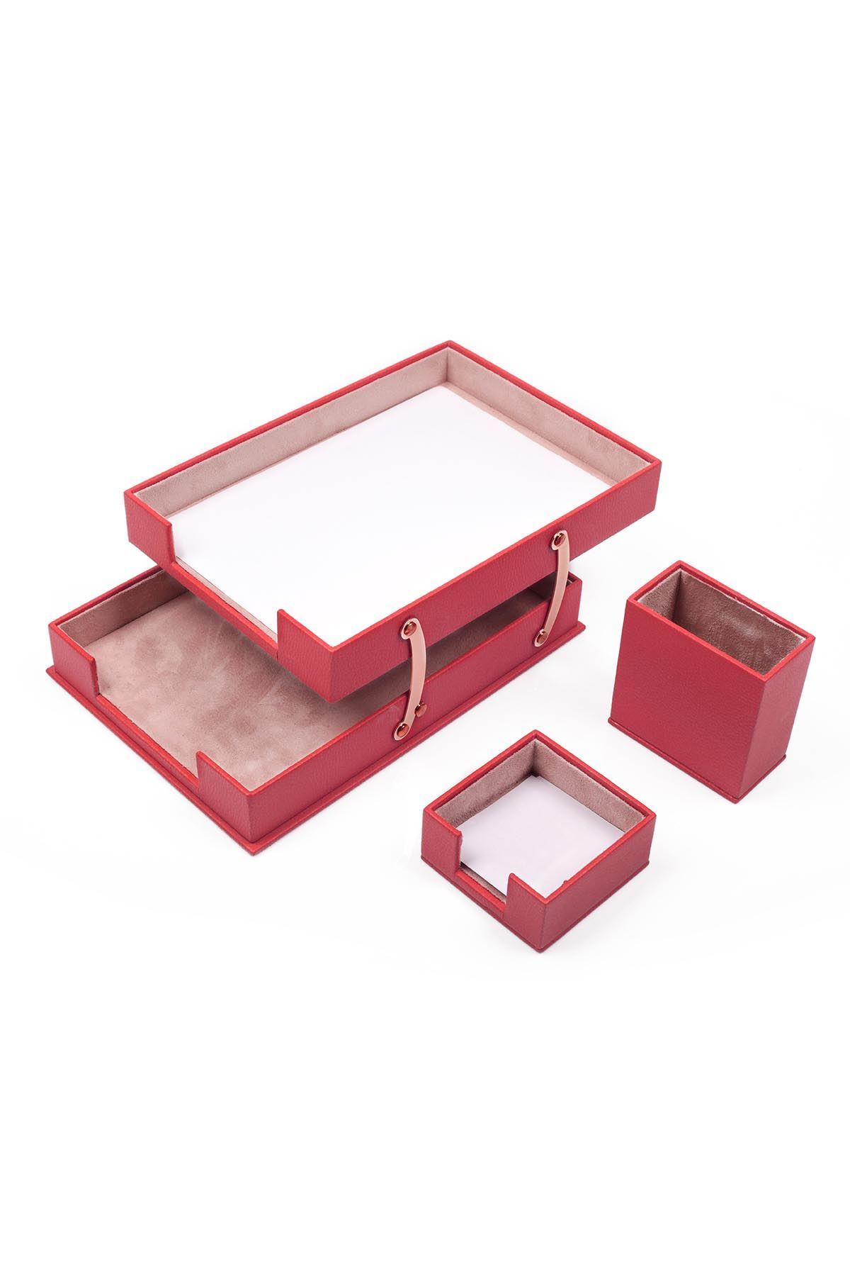 Ofis Deri 3 Parça Masa Üstü Seti Kırmızı Çiftli Evrak Rafı, Kalemlik ve Notluk