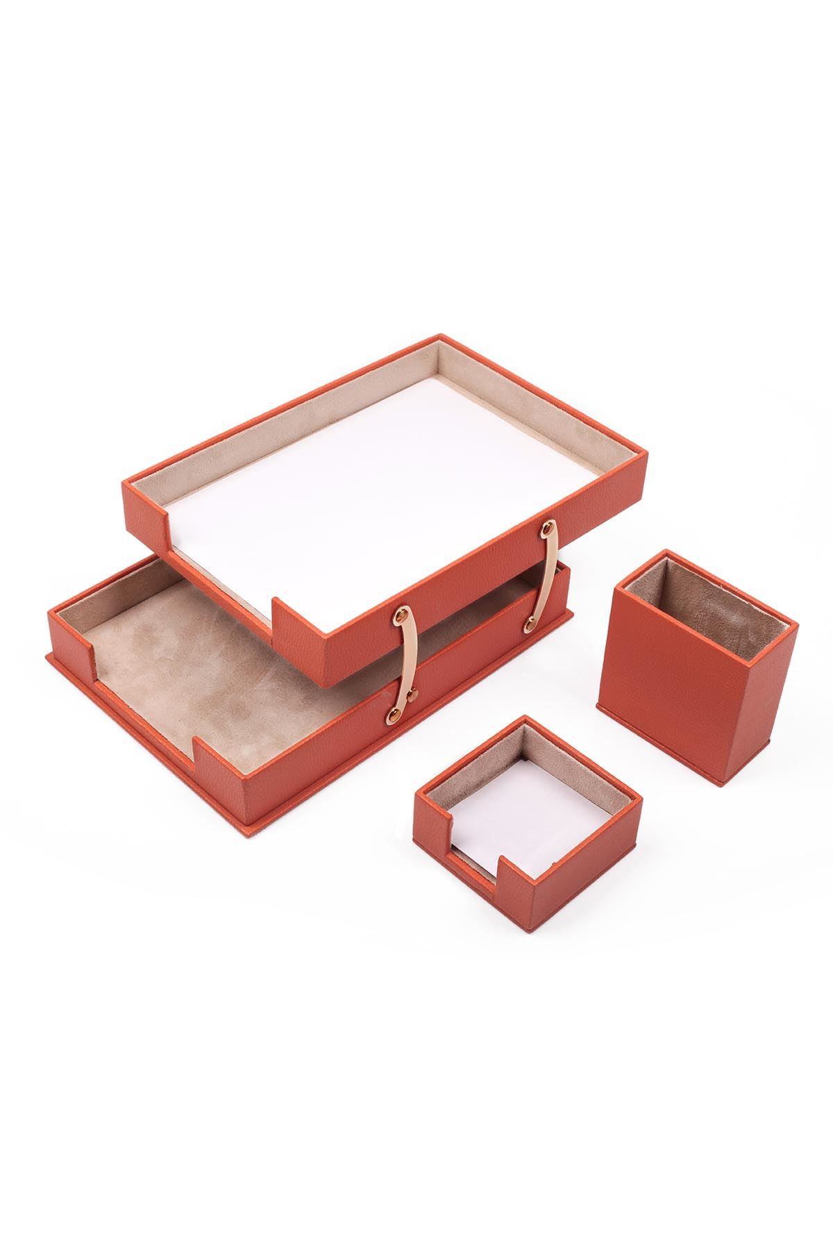 Double Document Tray With 2 Accessories Orange| Desk Set Accessories | Desktop Accessories | Desk Accessories | Desk Organizers