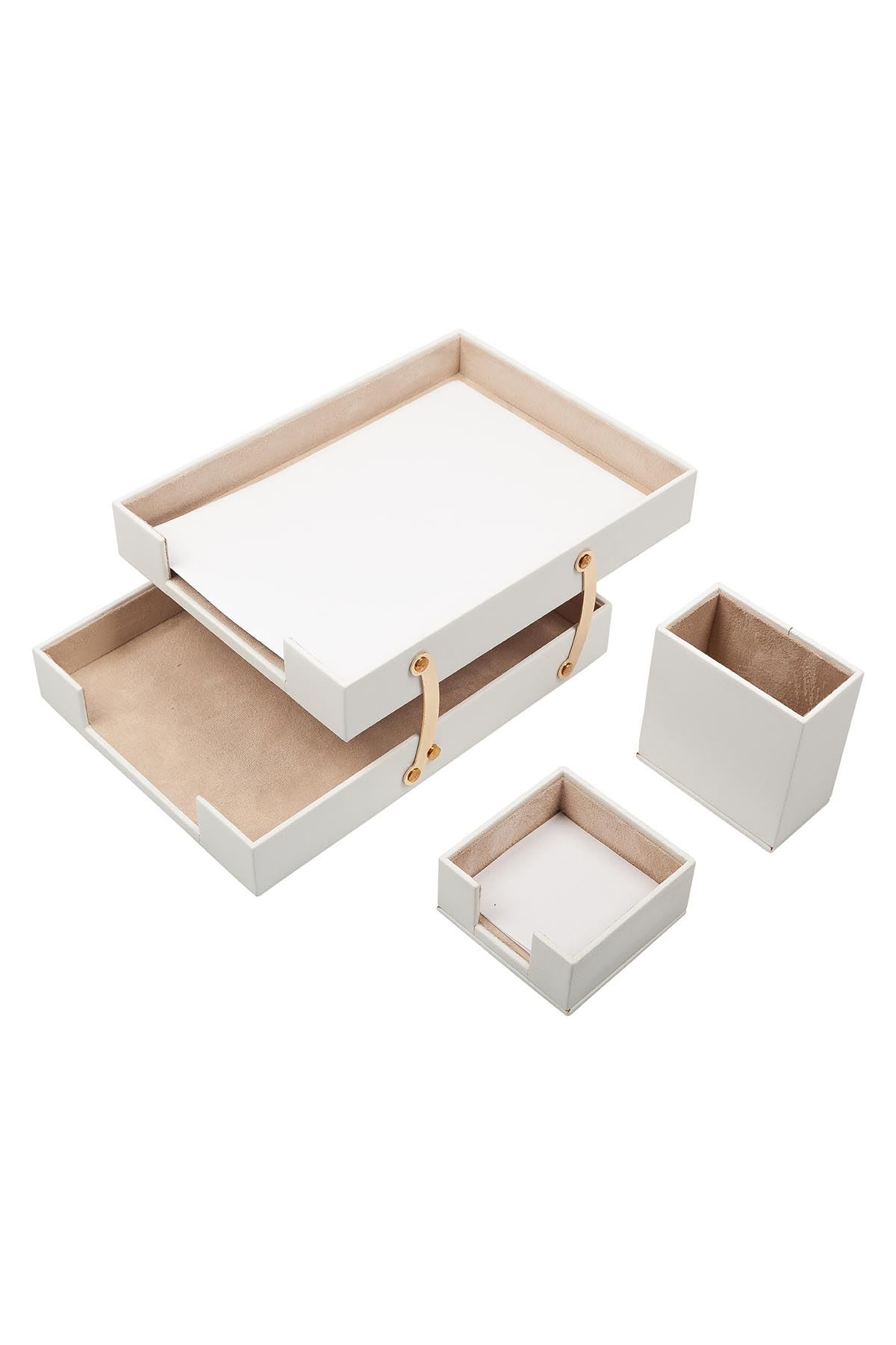 Double Document Tray With 2 Accessories White| Desk Set Accessories | Desktop Accessories | Desk Accessories | Desk Organizers