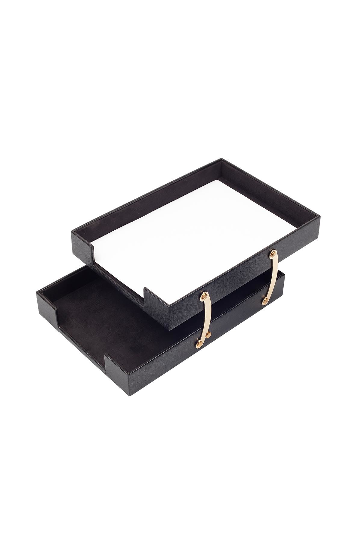 Double Document Tray Black| Leather Document Organizer | Leather Foldable Tray | Leather Organizer | Double Document Shelves