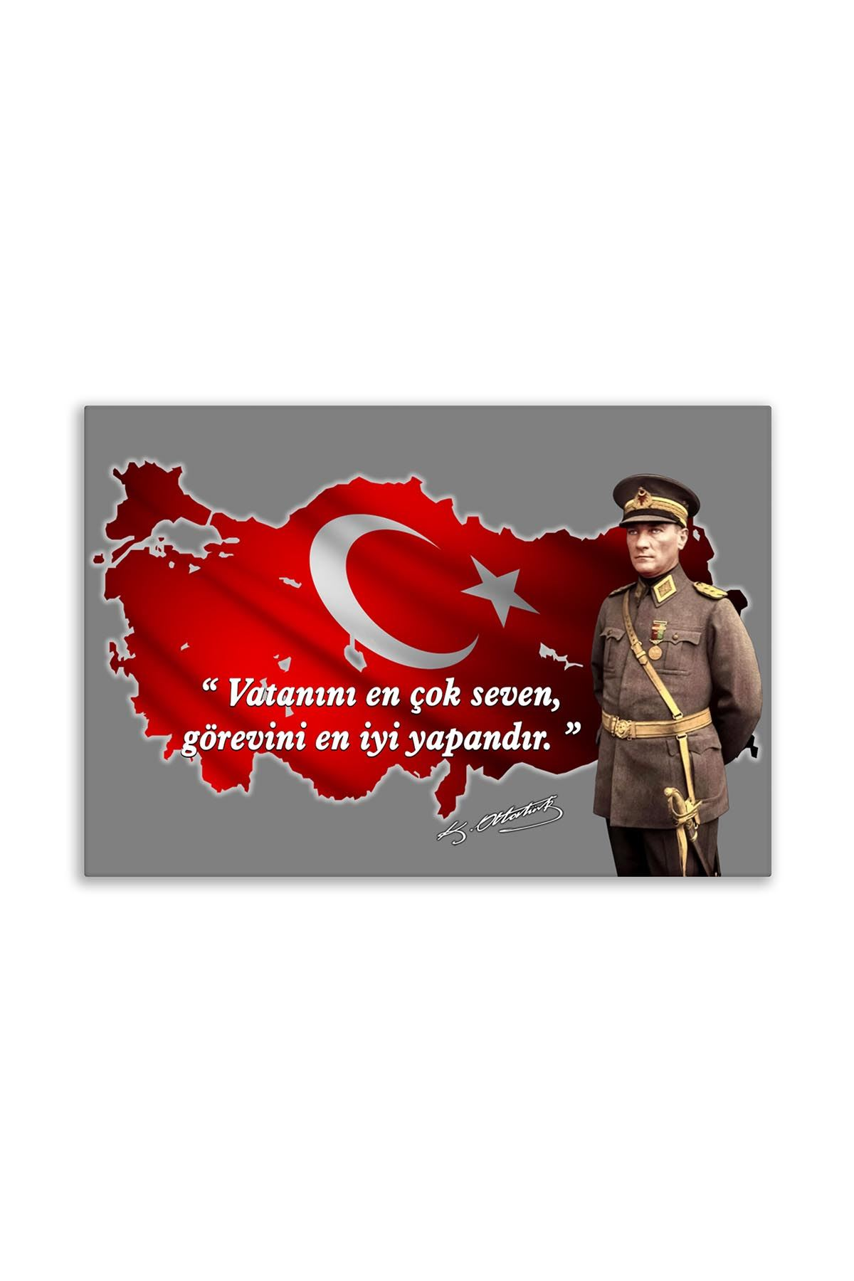 Atatürk With Solider Uniform Canvas Board | Decorative Painting | Printed Board | Personalized Pictures | Canvas Board
