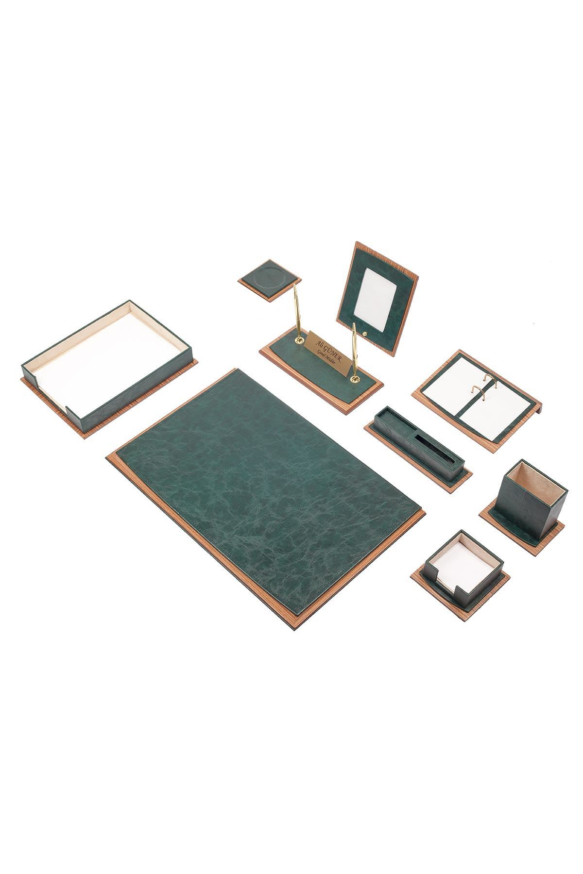 Star Lux Leather Desk Set Green 11 Accessories