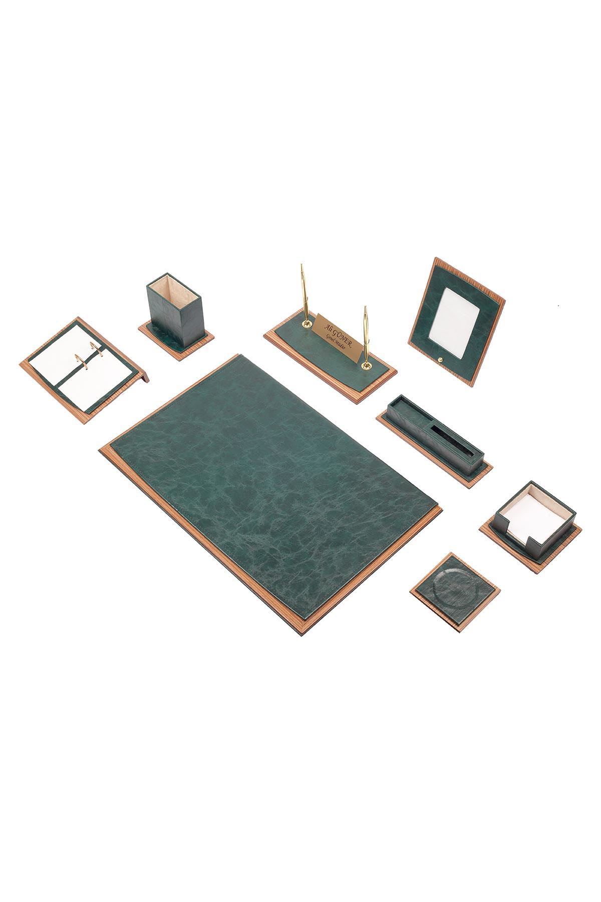 Star Lux Leather Desk Set Green 10 Accessories