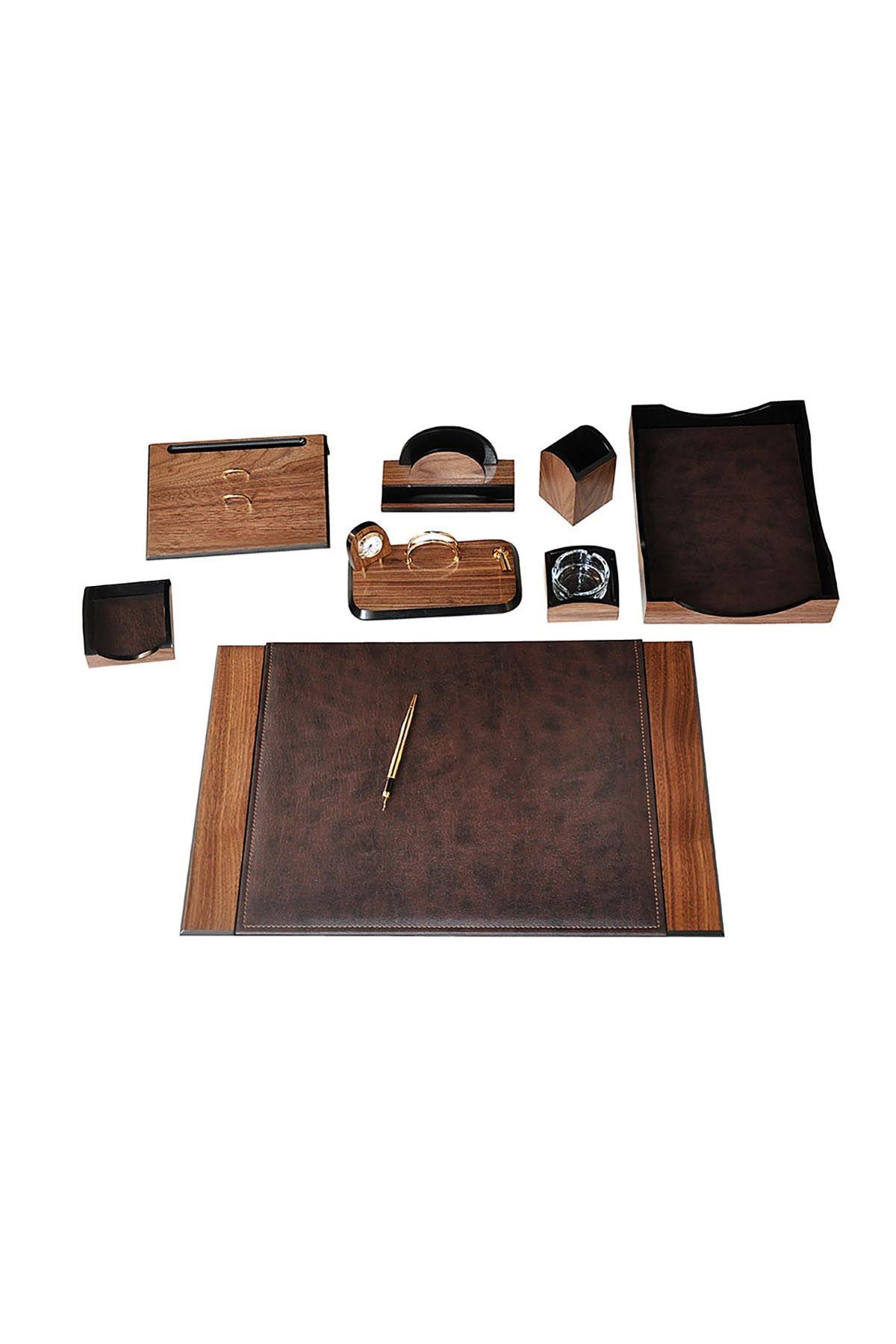 Wooden Karizma Desk Set Brown 9 Accessories